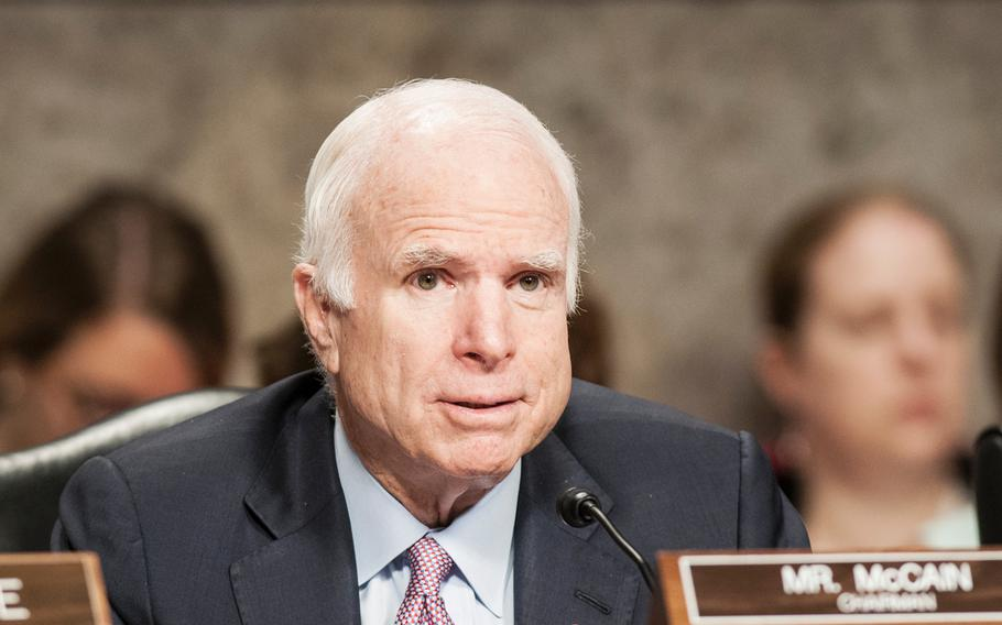Chairman of the Senate Armed Services Committee Sen. John McCain, R-Ariz., attends a hearing on Tuesday, June 13, 2017, on Capitol Hill on Washington, D.C.