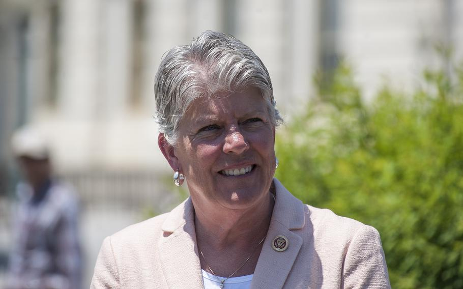 """Rep. Julia Brownley, D-Calif., takes part in a May 17, 2017, event outside the Capitol. Brownley, who helped introduce a measure included in the House's new VA funding bill that would extend VA's coverage of in vitro fertilization costs through 2019, said """"We owe our veterans who have suffered reproductive injuries the ability to fulfill their dream of raising a family of their own."""""""