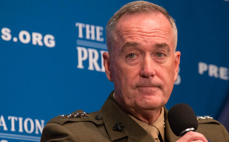 Chairman of the Joint Chiefs of Staff Gen. Joseph Dunford speaks at the National Press Club in Washington on June 19, 2017.
