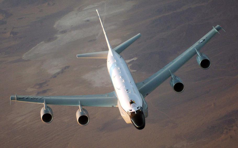 A U.S. Air Force RC-135 flies over Afghanistan.