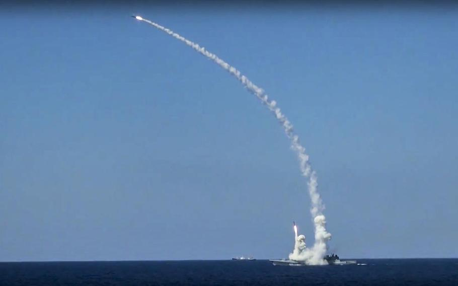 In this image released on Friday, June 23, 2017, long-range Kalibr cruise missiles are launched by a Russian navy ship in the eastern Mediterranean. Russia's Defense Ministry said it fired cruise missiles from the Mediterranean Sea on positions of the Islamic State in Syria.