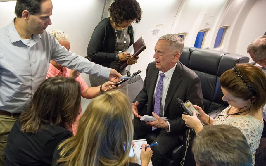 Secretary of Defense Jim Mattis speaks to the press during a flight to Garmisch, Germany, on Monday, June 26, 2017.
