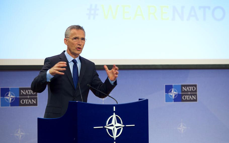 NATO Secretary-General Jens Stoltenberg gives a news conference ahead of Thursday's  NATO Defense Ministers' meeting at NATO headquarters in Brussels on Wednesday, June 28, 2017.  Photo courtesy of NATO