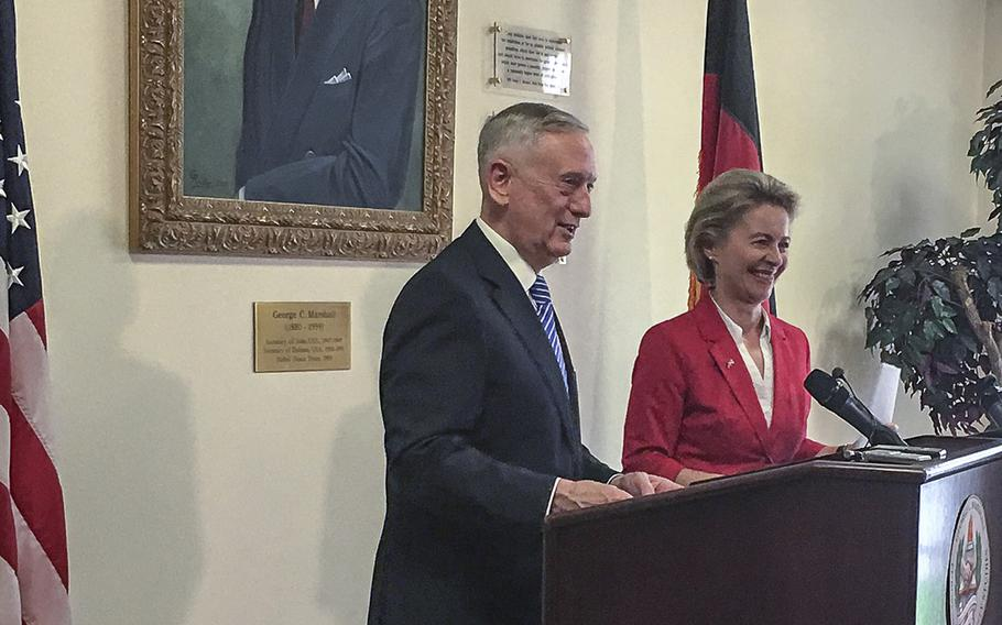 Defense Secretary Jim Mattis and German Minister of Defense Ursula von der Leyen speak at the George C. Marshall European Center for Security Studies in Garmisch, Germany, to commemorate the 70th anniversary of the Marshall Plan.