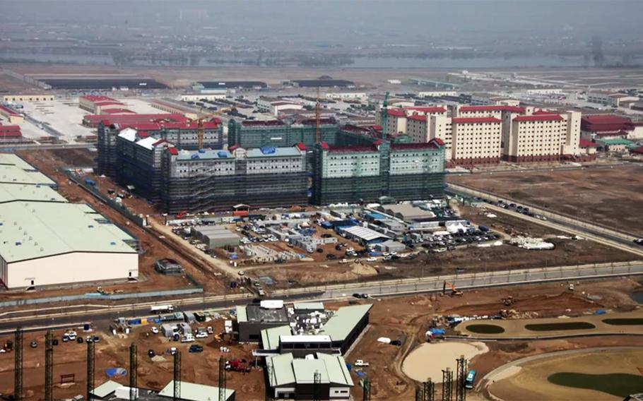 New barracks facilities at Camp Humphreys, South Korea, as seen in a screen capture from an April, 2017 video. Camp Humphreys would be the destination for a stationed brigade in a plan put forth by an Army War College professor.
