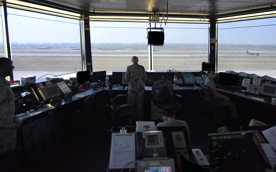 Airmen assigned to the 39th Operations Support Squadron perform air traffic control duties June 28, 2017, at Incirlik Air Base, Turkey.