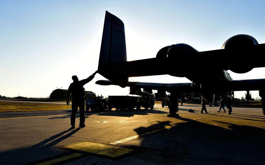 Lt. Col. Ben Rudolphi, 407th Expeditionary Operation Support Squadron commander, conducts a preflight check on an A-10 Thunderbolt II on July 11, 2017 at Incirlik Air Base, Turkey.