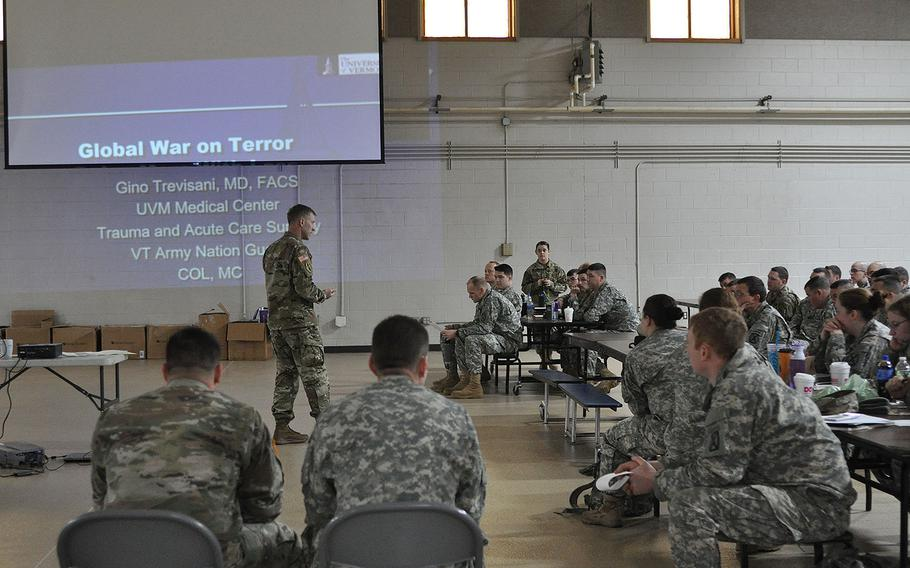 U.S. Army medics with the Vermont National Guard attend a medical symposium at Camp Johnson, Colchester, Vermont on March 4, 2017.