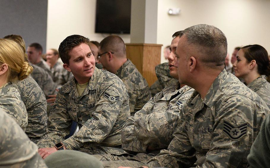 Airmen First Class Damian Williams, 120th Airlift Wing crew chief, discusses scenarios during a Green Dot training on April 1, 2017 on sexual assault awareness and suicide prevention.