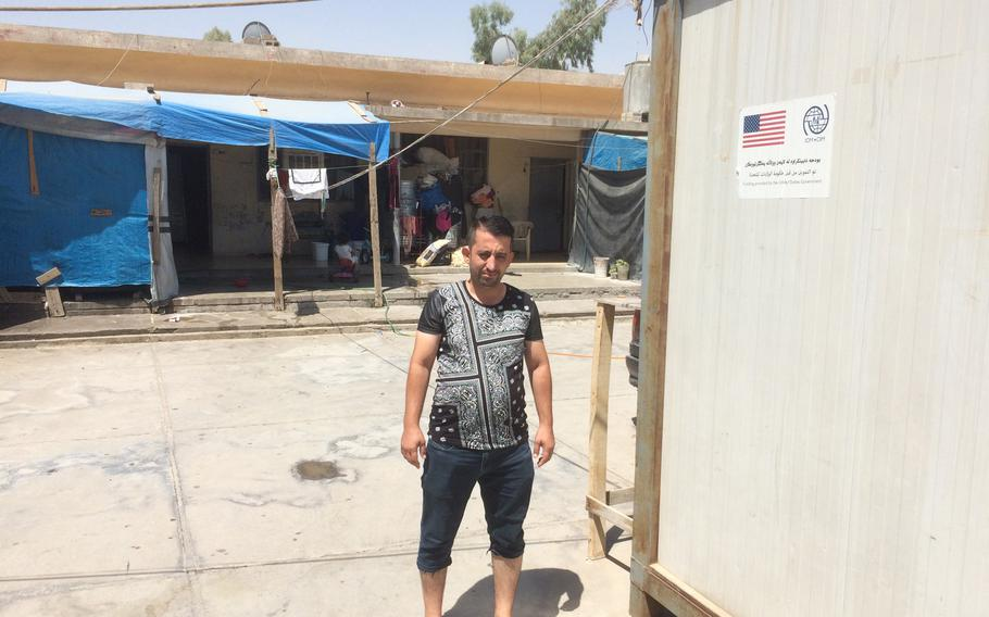 Firas Alyas, 40, a Yazidi teacher who fled his home in Bashiqa to escape the Islamic State in 2014, has been living in a camp for displaced people in Irbil, Iraq, for three years.