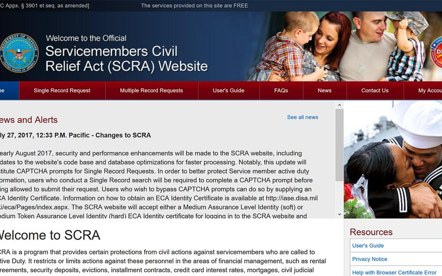 A screen capture of the Servicemembers Civil Relief Act website.