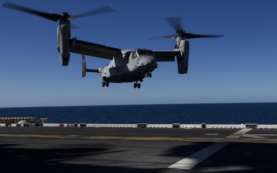 An MV-22B Osprey tiltrotor aircraft belonging to Marine Medium Tiltrotor Squadron 265 (Reinforced), 31st Marine Expeditionary Unit, approaches to land aboard the USS Bonhomme Richard off the coast of Queensland, Australia, Aug. 8, 2017.