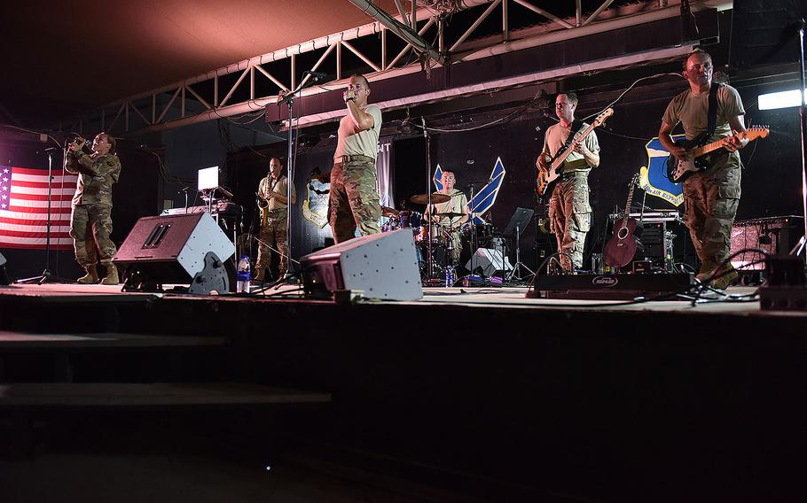 U.S. Air Forces Central Command band Starlifter performs  for Airmen of the 380th Air Expeditionary Wing at Al Dhafra Air Base, United Arab Emirates, July 26, 2017.