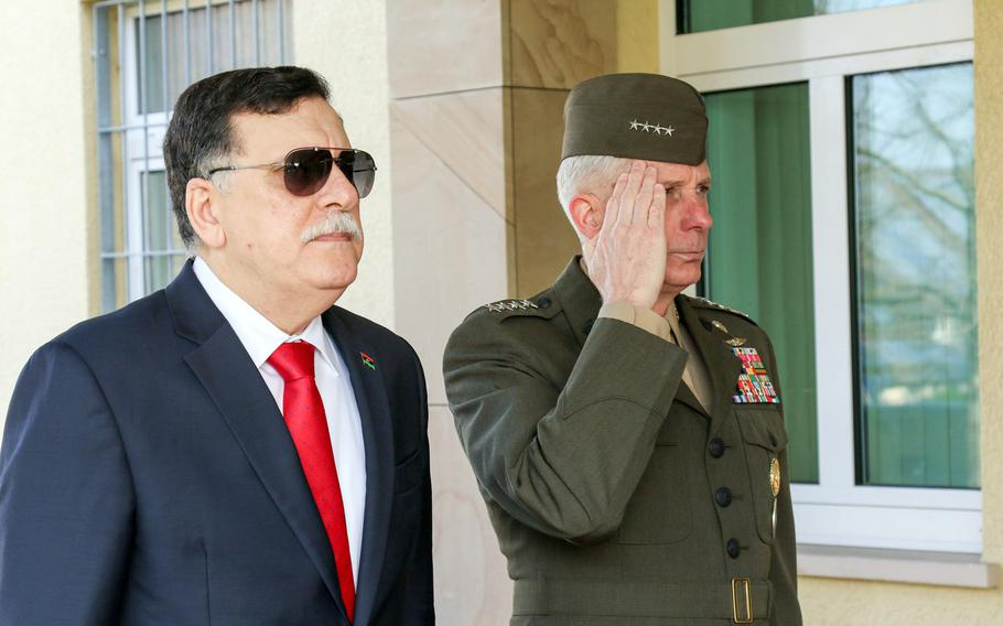 The prime minister of Libya's unity government, Fayez al-Sarraj, met with Gen. Thomas D. Waldhauser, commander, U.S. Africa Command, at the command's headquarters in Stuttgart, Germany, Wednesday, April 5, 2017. Al-Sarraj's Western-backed government faces a growing challenge from strongman Kalifa Haftar, who is meeting with Russian leaders in Moscow.