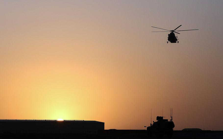 An Afghan Air Force Mi-17 Helicopter prepares to land at Camp Shorabak, Afghanistan, on Aug. 14, 2017.