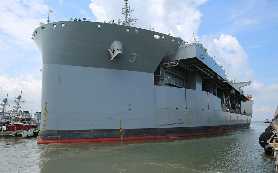 The expeditionary mobile base USNS Lewis B. Puller (T-ESB 3) gets underway from Naval Station Norfolk to begin its first operational deployment, July 10, 2017.