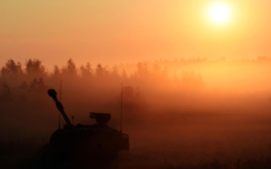 An M109 Paladin self-propelled howitzer at sunrise during Exercise Combined Resolve 9 at Grafenwoehr, Germany, on Aug. 23, 2017.