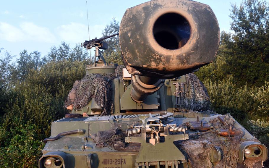 An M109 Paladin self-propelled howitzer awaits duty during Exercise Combined Resolve 9 at Grafenwoehr, Germany, on Aug. 23, 2017.