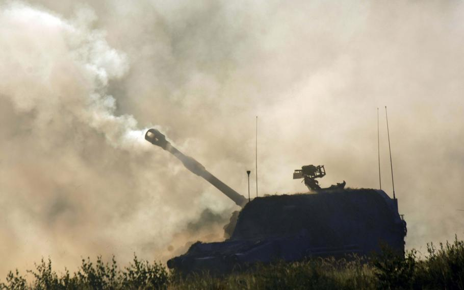 An M109 Paladin self-propelled howitzer after firing in the fog during Exercise Combined Resolve 9 at Grafenwoehr, Germany, on Aug. 23, 2017.
