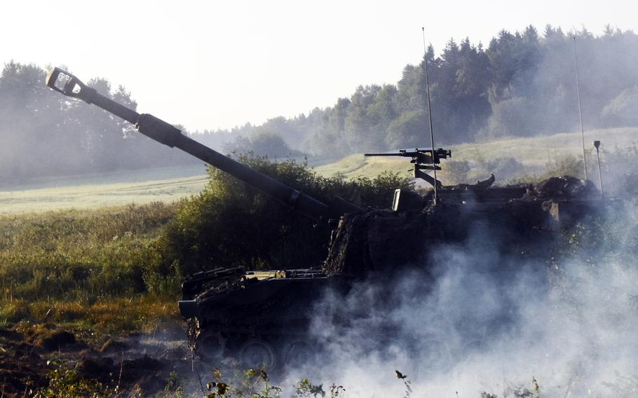 An M109 Paladin self-propelled howitzer during Exercise Combined Resolve 9 at Grafenwoehr, Germany, on Aug. 23, 2017.