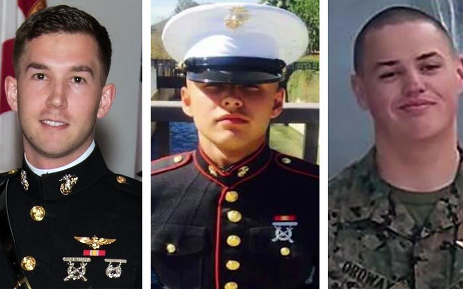 Capt. Benjamin R. Cross, Lance Cpl. Ruben P. Velasco and Cpl. Nathaniel F. Ordway, left to right.
