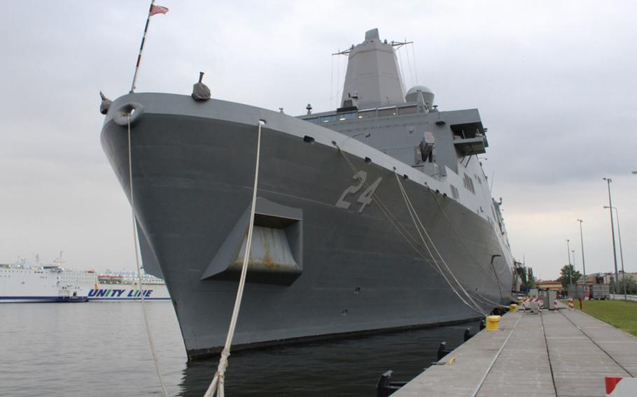The USS Arlington is moored in preparation to go underway to participate in BALTOPS 2017, an annual maritime exercise in the Baltic Sea region. The U.S. and Russia have stepped up military drills in the Baltic region.