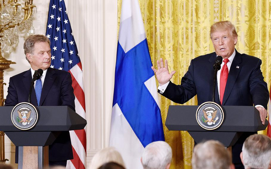 President Donald Trump holds a joint press conference with President Sauli Niinisto of Finland in the East Room of the White House on Aug. 28, 2017 in Washington, D.C.