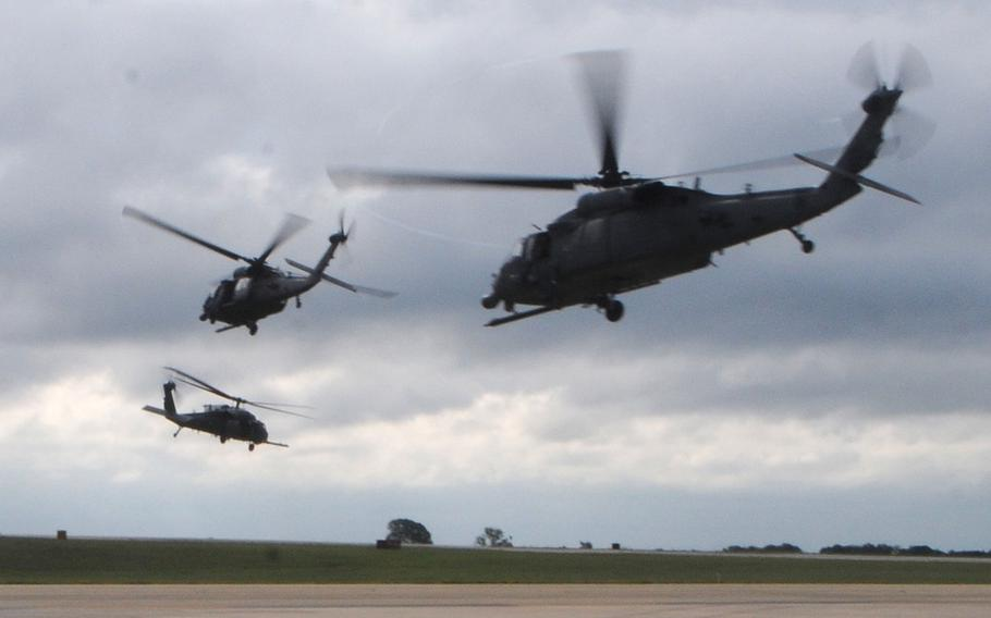 Three HH-60 Pavehawk Helicopters from the New York Air National Guard's 106th Rescue Wing, carrying pararescuemen take off from Fort Hood, Texas, on Aug. 28, 2017, heading for Houston as part of the Hurricane Harvey response effort.