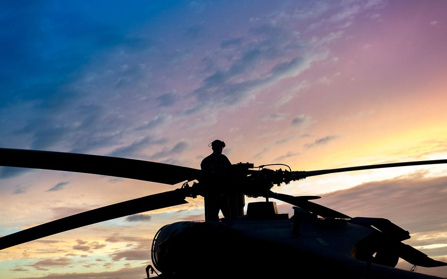 Staff Sgt. Sean O'Neill, 41st Helicopter Maintenance Unit maintainer, checks the rotor blades of an HH-60J Pave Hawk, Aug. 28, 2017, at Easterwood Airport in College Station, Texas. The 347th Rescue Group from Moody Air Force Base, Ga. sent aircraft and personnel in support of FEMA's disaster response efforts.