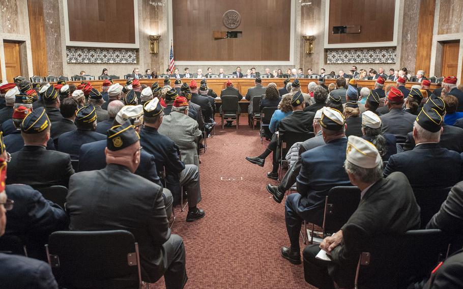 Veterans attend a presentation at the Capitol in Washington on March 1, 2017, as lawmakers heard from American Legion representatives about veterans' issues.