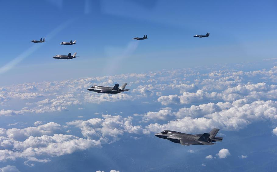U.S. Marine Corps F-35B Lightning II fighters assigned to Marine Corps Air Station Iwakuni, Japan, are joined by South Korean Air Force F-15K fighters during a 10-hour mission from Andersen Air Force Base, Guam, to the Korean Peninsula on Aug. 30, 2017.