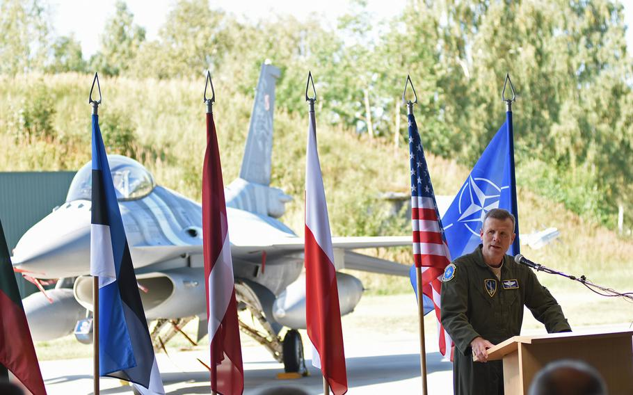 Gen. Tod D. Wolters, U.S. Air Forces in Europe - Air Forces Africa and NATO Allied Air Command commander, speaks at a ceremony on Wednesday, Aug. 30, 2017, marking the transfer of the control of the Baltic air policing to the U.S. Air Force.