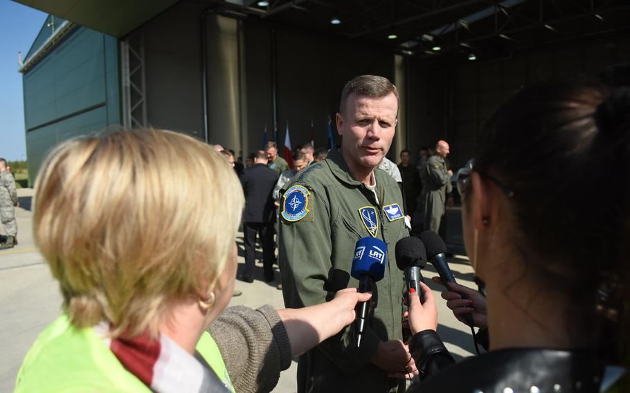 Gen. Tod D. Wolters, U.S. Air Forces in Europe - Air Forces Africa and NATO Air Allied Command commander, speaks to reporters on Wednesday, Aug. 30, 2017, at Siauliai Air Base, Lithuania.