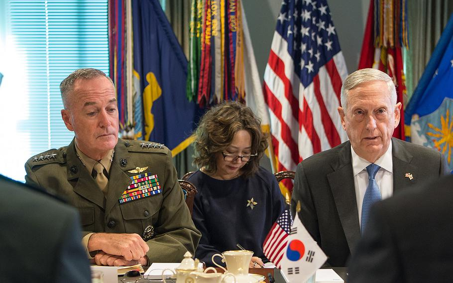 Secretary of Defense Jim Mattis and Marine Corps Gen. Joseph F. Dunford Jr., chairman of the Joint Chiefs of Staff, meet with Song Young-moo, the minister of national defense for the Republic of Korea, at the Pentagon in Arlington, Virginia on Aug. 30, 2017.