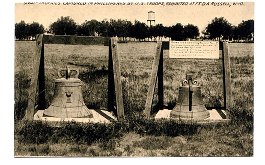 Two Balangiga bells are displayed at the F.E. Warren Air Force Base in Cheyenne, Wyo.