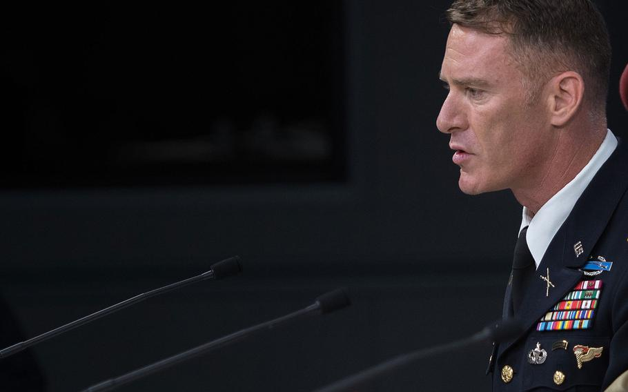 Operation Inherent Resolve spokesman U.S. Army Col. Ryan Dillon briefs reporters at the Pentagon on July 13, 2017.