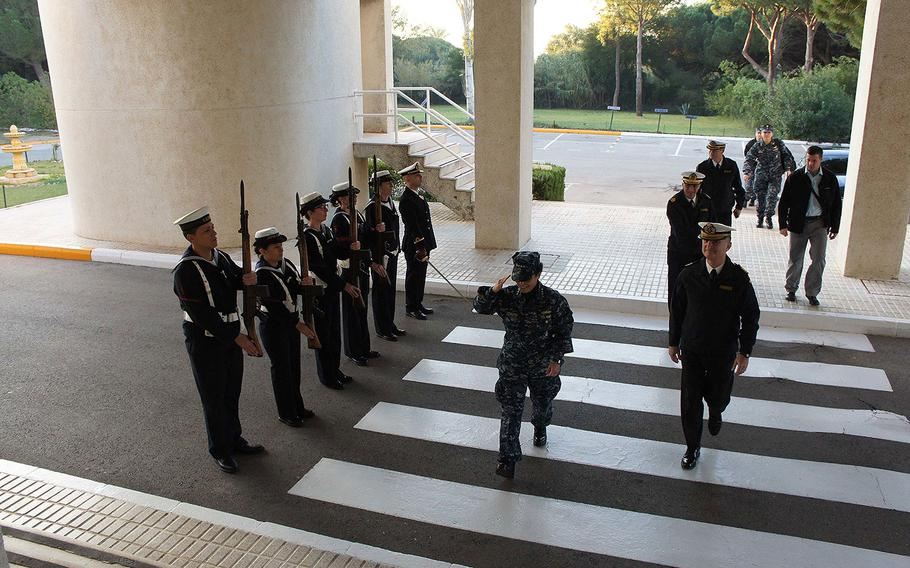 Commander, U.S. Naval Forces Europe-Africa, Adm. Michelle Howard, is rendered honors as she arrives at the Spanish Headquarters building during her visit to Naval Station Rota on Dec. 21, 2016.