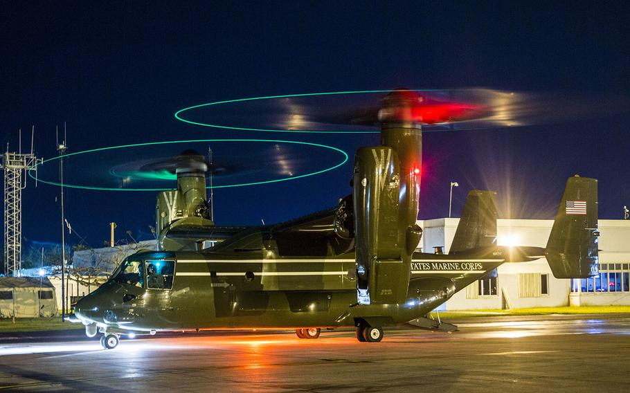 A U.S. Marine Corps MV-22 Osprey with Marine Helicopter Squadron One lands on an airfield in San Juan, Puerto Rico, Sept. 30, 2017.