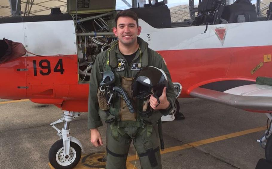 An undated file photo of Lt. j.g. Wallace E. Burch, 25, of Horn Lake, Miss. Burch was one of two pilots who were killed Oct. 1, 2017 when their T-45C aircraft crashed in Tellico Plains, Tenn.