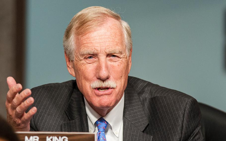 Sen. Angus King speaks during a Senate Armed Services Committee hearing on Wednesday, Oct. 3, 2017, on Capitol Hill in Washington.