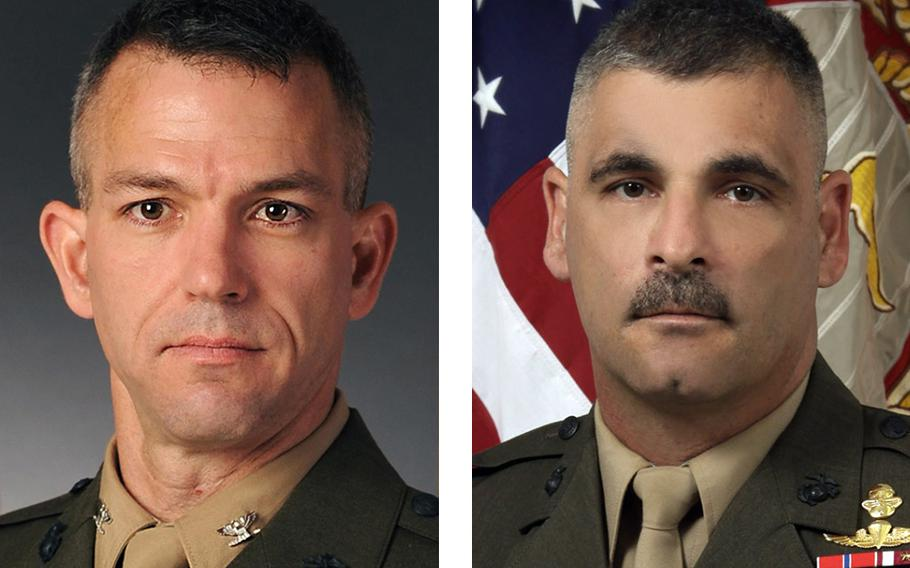 Col. Morgan Mann, left, commander of the 25th Marine Regiment, and Sgt. Maj. James Boutin, the regimental inspector-instructor, have been relieved of command.