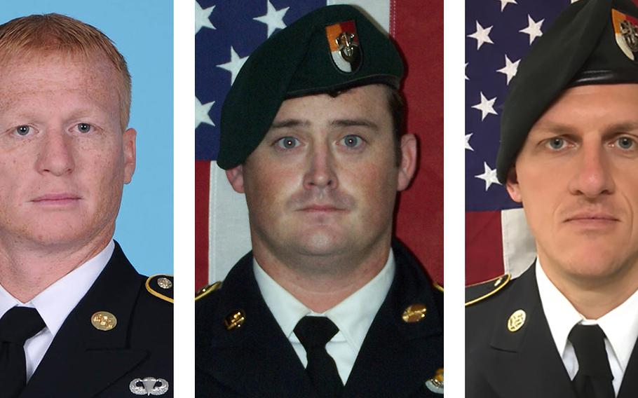 Staff Sgts. Jeremiah W. Johnson, from left, Dustin M. Wright and Bryan C. Black died of wounds suffered in a surprise attack in the southwestern part of Niger on Wednesday.