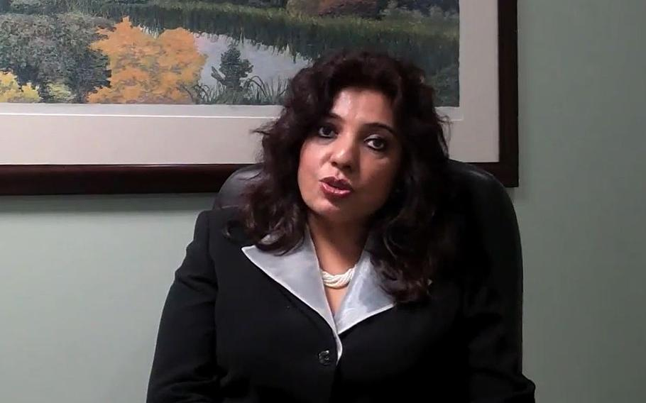 A screen grab shows Dr. Poonam Alaigh as seen in a July 2011 video post. According to a report on Friday, Oct. 6, 2017, Alaigh was to resign her post as the VA's acting undersecretary for health.
