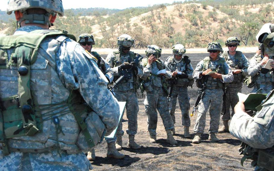 Soldiers of the California Army National Guard and 1st Armored Division conduct joint training at Camp Roberts, California, May 2016.