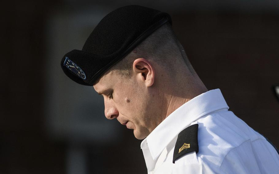 Army Sgt. Bowe Bergdahl arrives for a motions hearing on Sept. 27, 2017, in Fort Bragg, N.C.