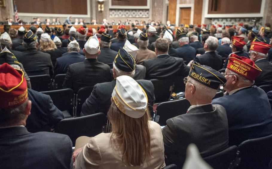 Veterans attend a presentation at the Capitol in Washington, D.C., on March 1, 2017, as lawmakers heard from American Legion representatives about veterans' issues.