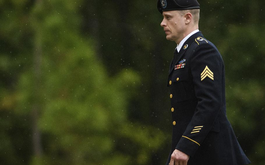 Sgt. Bowe Bergdahl returns to the Fort Bragg courthouse after a lunch break on Monday, Oct. 16, 2017, on Fort Bragg, N.C.