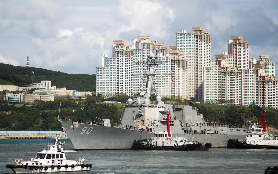 The guided-missile destroyer USS Chafee pulls into port at Busan, South Korea, Saturday, Oct. 21, 2017.