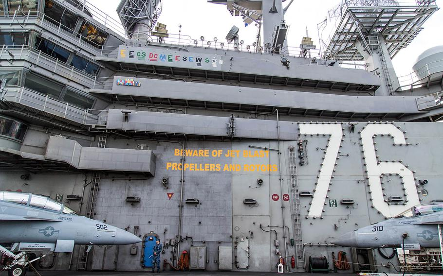 The USS Ronald Reagan arrived for a port visit at Busan, South Korea, Saturday, Oct. 21, 2017.