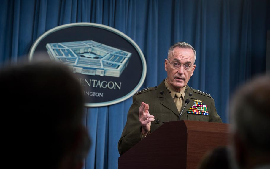Chairman of the Joint Chiefs of Staff U.S. Marine Corps Gen. Joe Dunford speaks with media about recent military operations in Niger during a briefing Oct. 23, 2017, at the Pentagon in Washington, D.C.